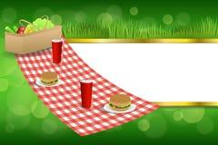 Золото овощей питья гамбургера корзины пикника зеленой травы предпосылки абстрактное stripes иллюстрация рамки иллюстрация штока