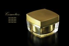 Золото покрасило пустой косметический контейнер для увлажнителя сливк стороны Стоковое Изображение