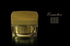 Золото покрасило пустой косметический контейнер для увлажнителя сливк стороны Стоковые Изображения RF