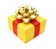золото подарка коробки смычка Стоковая Фотография