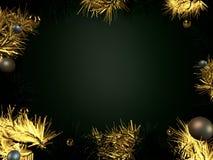 Золото предпосылки рождества и зеленая сусаль с шариками в круге иллюстрация вектора