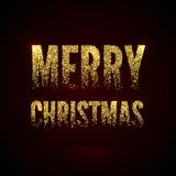Золото рождественской открытки сверкнает на черной предпосылке Плакат X-MAS яркого блеска и каллиграфии приветствуя бесплатная иллюстрация