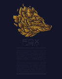 Золото роскоши логотипа значка дизайна Fox или волка вектора Вектор дела представления Template Стоковая Фотография