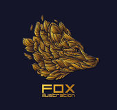 Золото роскоши логотипа значка дизайна Fox или волка вектора Стоковые Изображения