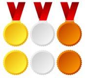 Золото, серебр, бронзовые медали, значки иллюстрация штока