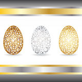 Золото, серебр, бронзовые яичка Стоковые Изображения RF