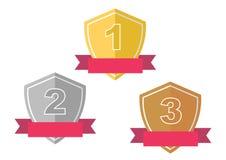 Золото, серебр, бронзовый значок приза награды Стоковые Фото
