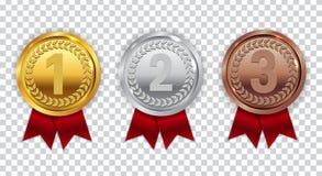 Золото, серебр и бронзовая медаль чемпиона с красным знаком значка ленты иллюстрация штока
