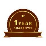 Золото ярлык гарантии 1 года, значок, символ, метка, эмблема Стоковое фото RF