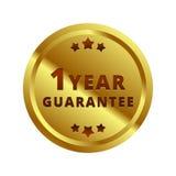 Золото ярлык гарантии 1 года, значок, символ, метка, эмблема иллюстрация вектора