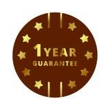 Золото ярлык гарантии 1 года, значок, символ, метка, эмблема Стоковые Изображения