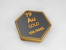 Золото- Au - форма периодической таблицы химического элемента шестиугольная иллюстрация вектора