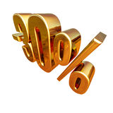 золото 3d знак скидки 30 процентов Стоковые Изображения