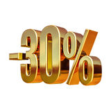 золото 3d знак скидки 30 процентов Стоковые Фото