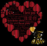 Золото Te amo сердца в языках Стоковая Фотография RF