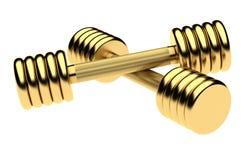 Золотые гантели фитнеса Изолировано на белой предпосылке Стоковые Изображения RF