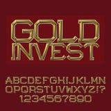 Золотые граненные письма и номера Презентабельный шрифт дела Стоковая Фотография RF