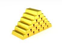 Золотые лестницы золота в слитках пирамиды Стоковые Изображения