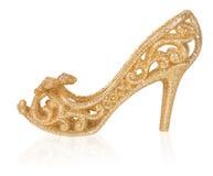 Золотые женщины ботинок, украшение рождества Стоковое Фото