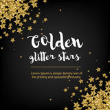 Золотые звезды яркого блеска Абстрактная предпосылка с звездами и текстом Стоковое Изображение RF