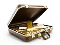 Золотые инготы в портфеле бесплатная иллюстрация