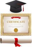 Золотые диплом сертификата и крышка градации иллюстрация вектора