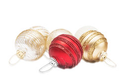 Золотые и красные сферы рождества Стоковая Фотография