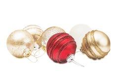 Золотые и красные сферы рождества Стоковое Фото