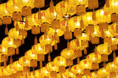 Золотые китайские фонарики Стоковые Изображения