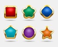 Золотые кнопки игры изолированные на белой предпосылке Vector рамки кнопки конфеты в формах квадрата, круга и звезды Стоковое Изображение RF