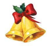 Золотые колоколы рождества акварели Стоковые Изображения