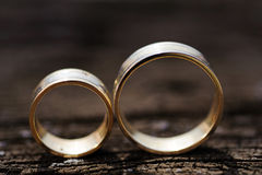 Золотые кольца на деревянной поверхности Стоковое Изображение