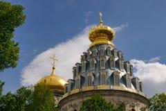 Золотые куполы собора воскресения в новом Иерусалиме (Istra) Стоковая Фотография RF
