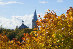 Золотые кленовые листы на предпосылке башня церков лютеранина Александра эстония Стоковые Изображения RF