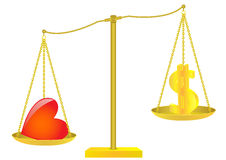 Золотые масштабы. Доллар и сердце. Стоковые Изображения