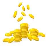Золотые монетки, вектор Стоковое Изображение RF