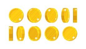 Золотые монетки в различных положениях Стоковые Изображения RF