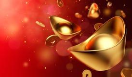 Золотые монетки падая на золото Sycee - Yuanbao иллюстрация вектора
