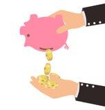 Золотые монетки падая от копилки к руке человека Стоковое Изображение