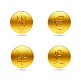 Золотые монетки с знаком денег Стоковые Фотографии RF