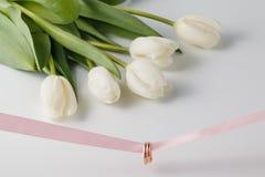 Золотые обручальные кольца над розовой лентой Стоковые Фото
