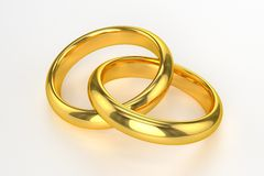 Золотые обручальные кольца Стоковое фото RF