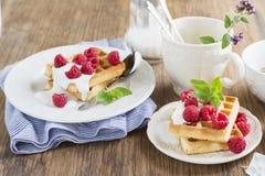Золотые домодельные свежие waffles для завтрака с сливк и полениками Стоковые Фото