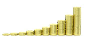 Золотые доллары диаграммы в виде вертикальных полос монеток Стоковые Изображения RF