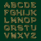 Золотые полые угловые письма с тенью Шрифт моды ретро Стоковые Изображения RF