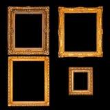 Золотые рамки над чернотой Стоковое Изображение RF