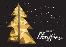 Золотые рождественская елка и литерность на черной предпосылке Стоковые Изображения