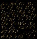 Золотые рукописные номера и знаки алфавита на темной предпосылке Стоковые Изображения