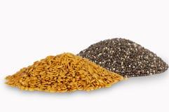 Золотые семена льна и chia Стоковое Изображение RF
