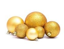 Золотые сферы рождества Стоковые Изображения